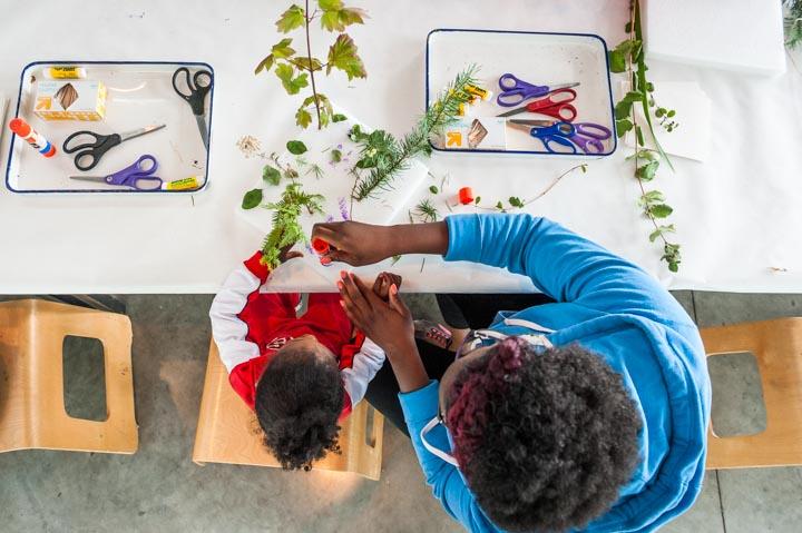 family making art