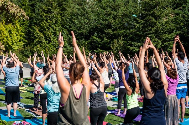 mountain yoga pose outdoors