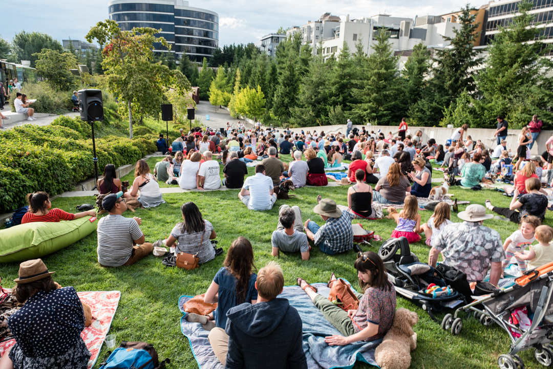 Many people sitting on a lawn outdoors among art