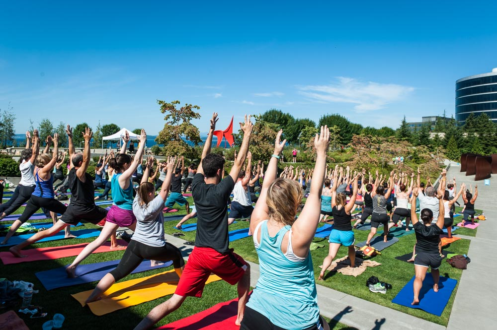 People doing yoga outdoors at the Olympic Sculpture Park